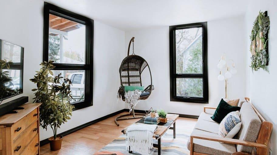 Bright living room with black trim