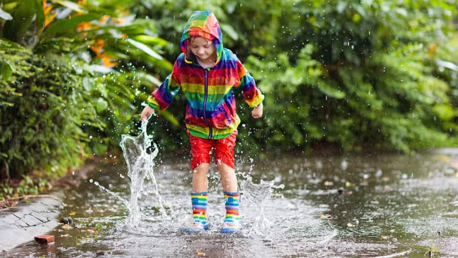 Child playing in a large puddle in the rain (Photo by FamVeld/iStock/Getty Images Plus via Getty Images)