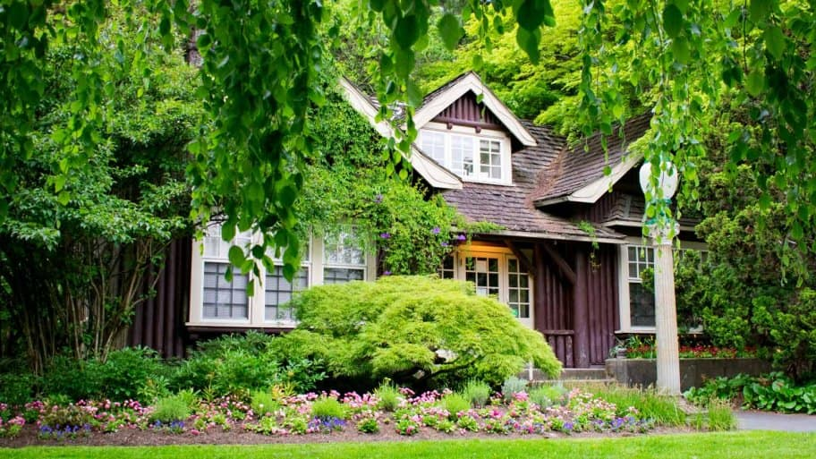 A beautiful cottage house surrounded by lush greenery