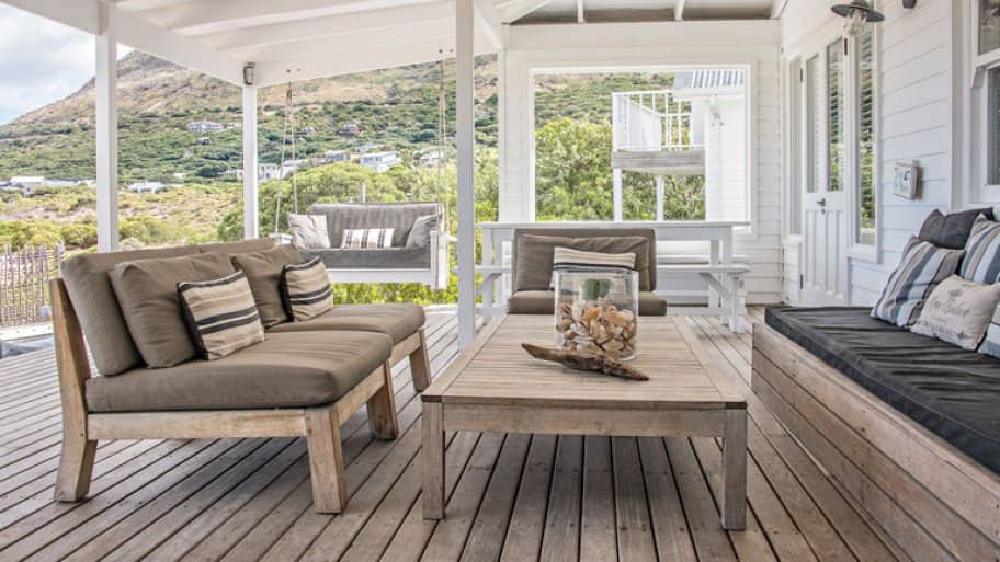 covered wooden deck outdoor furniture