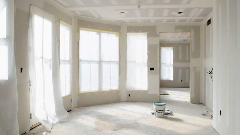 Home addition newly drywalled
