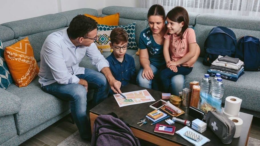 Family discussing emergency plan