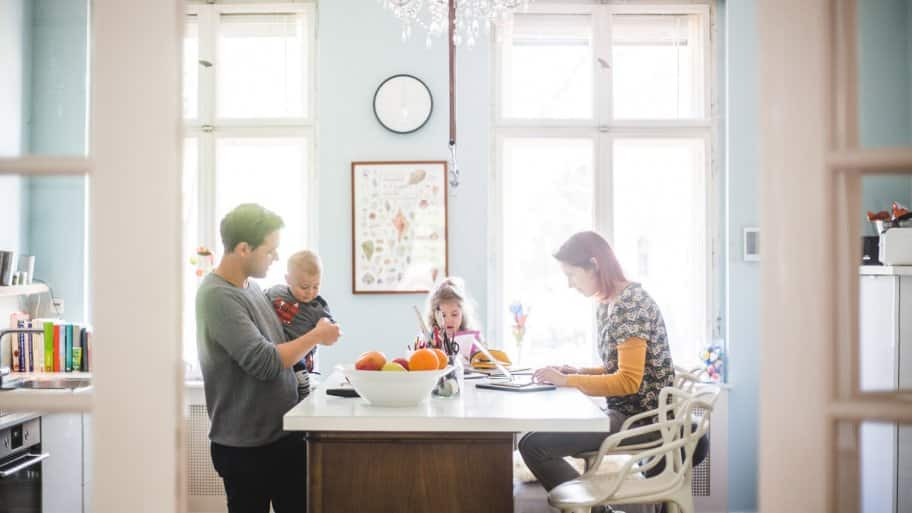 A family spending quality time in their bright kitchen (Photo by Maskot/Maskot via Getty Images)