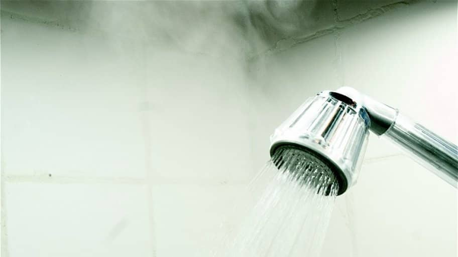 Flowing water from shower
