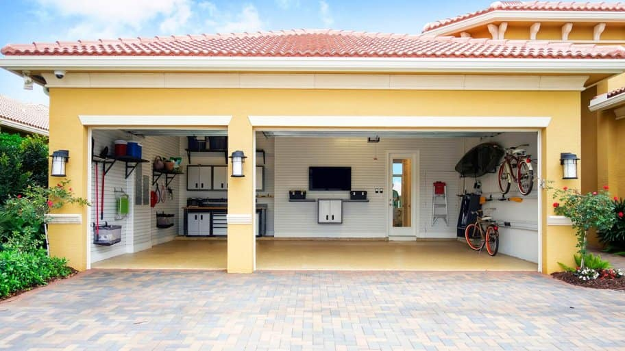 Interior of organized garage
