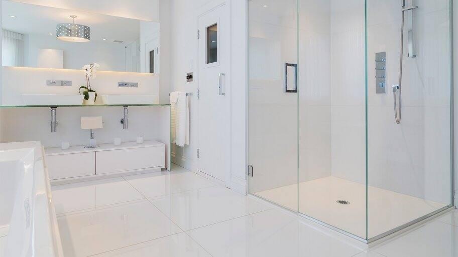white ceramic tile glass shower stall