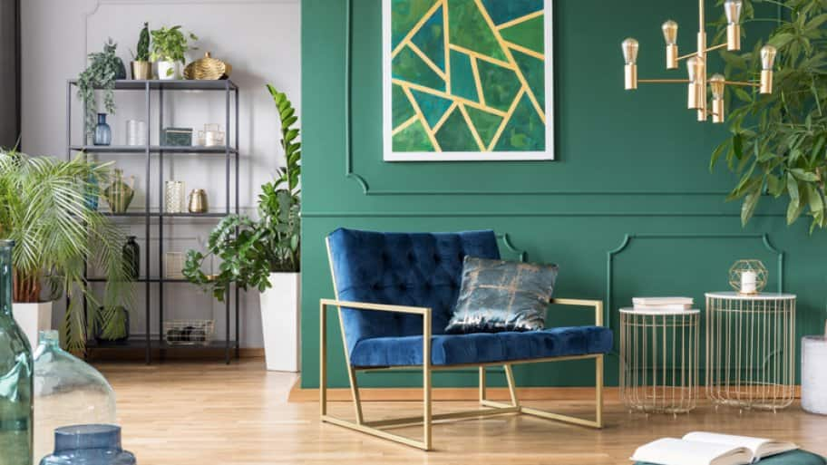 green and blue art deco room