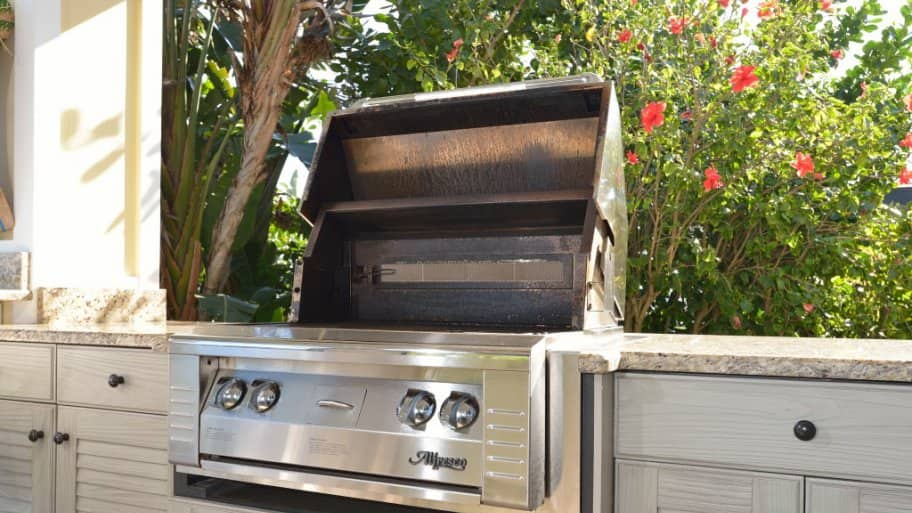 Gas grill in an outdoor kitchen