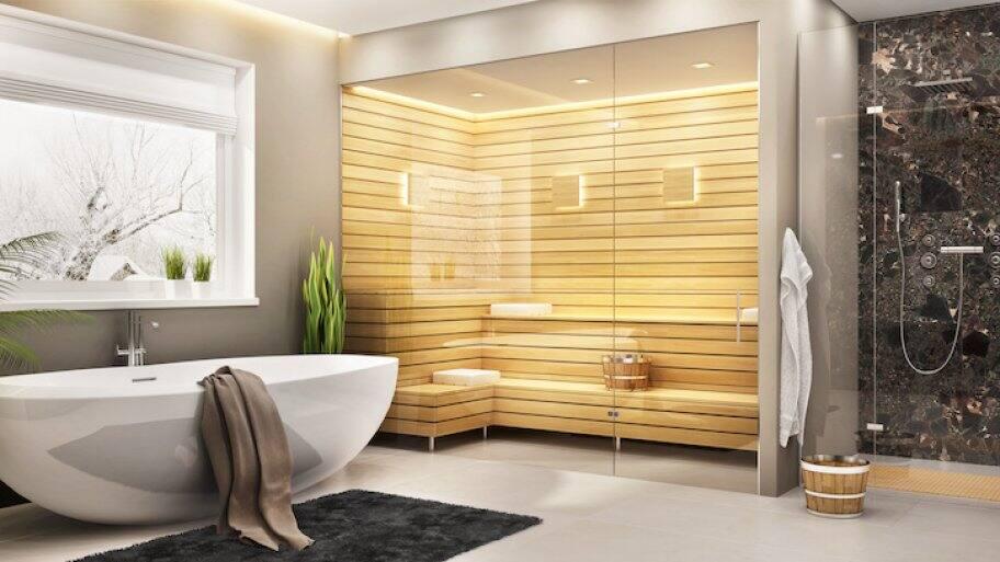 a wood sauna in a home bathroom