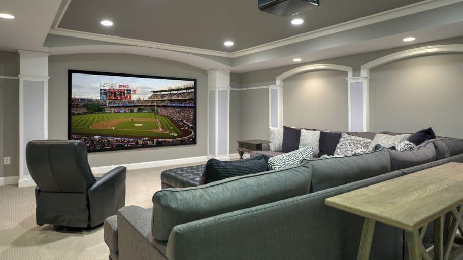 proejction screen tv basement home theater