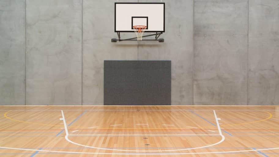 An indoor half-size basketball court