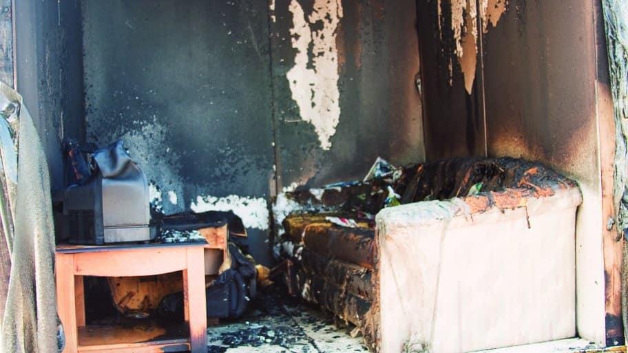 fire damaged living room