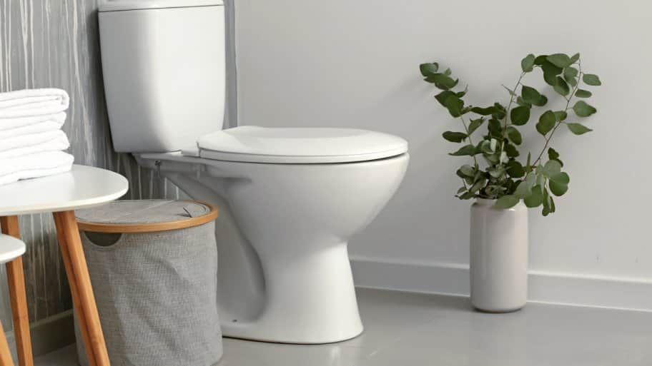 The interior of a bathroom with a ceramic toilet