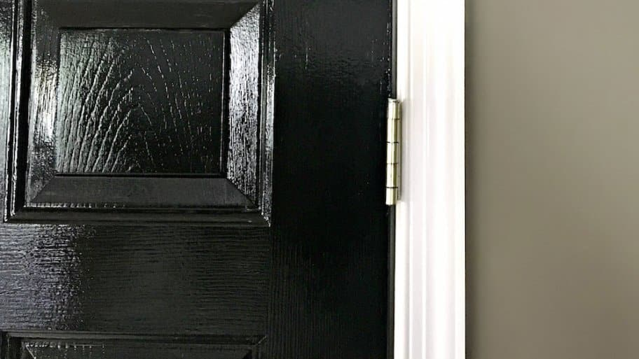black door with white trim