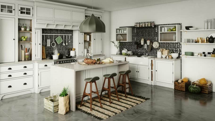 A kitchen island in a kitchen with rustic elements