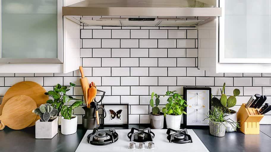 A countertop with kitchen backsplash tiles