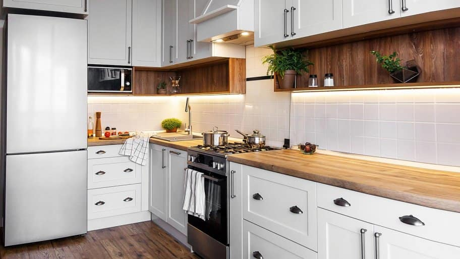 Kitchen with modern cabinets and stainless steel appliances
