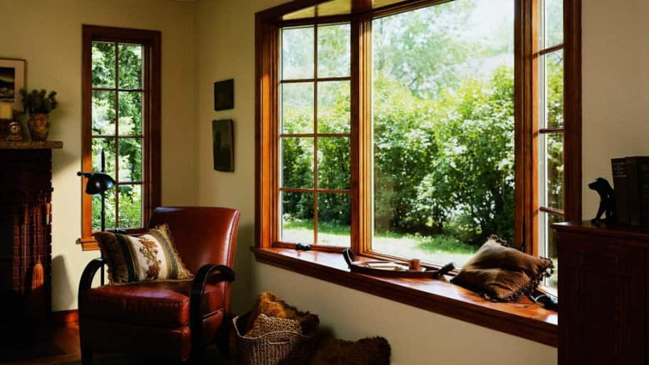 wood replacement windows in living area