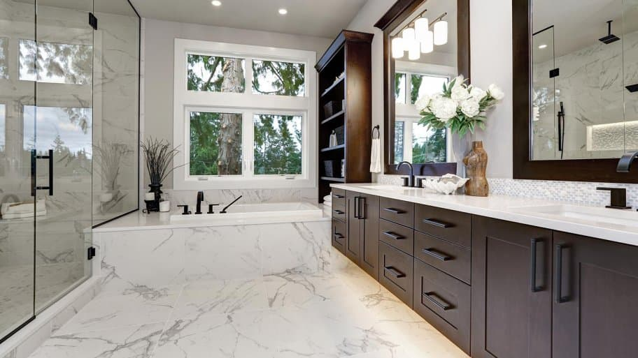 Bathroom with marble floors
