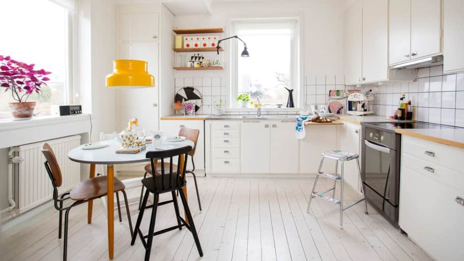 A modern bright kitchen with white cabinets