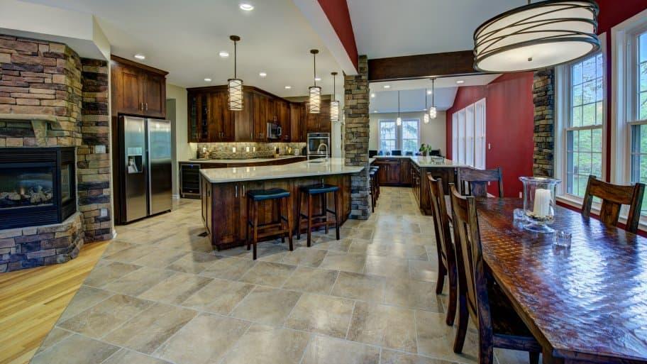 modern light fixtures in kitchen
