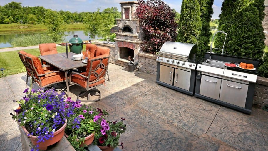 outdoor kitchen overlooking a lake