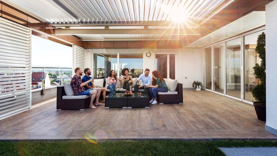 Friends have party on stamped concrete patio
