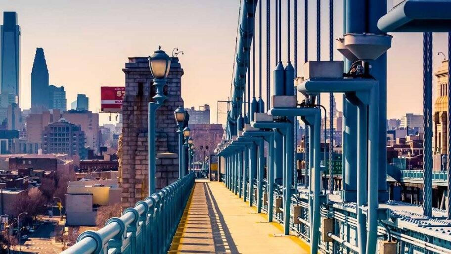 A view of Philadelphia from the Ben Franklin Bridge
