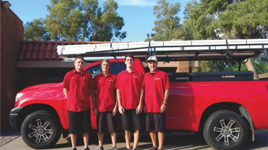 Mark Dal Soglio (right) and his sons Zach, Dan and Ray, make up the A Always team. (Photo courtesy of A Always Open Garage Doors)