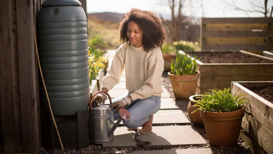 Woman fills up watering can from rain barrel