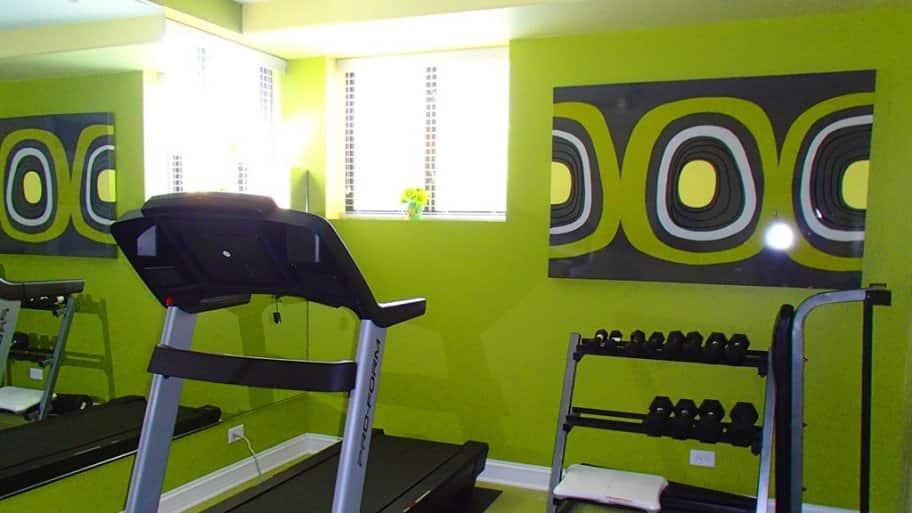 green home gym basement