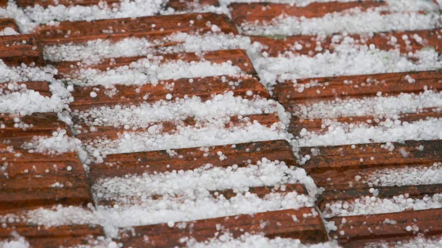 A roof covered in hailstone