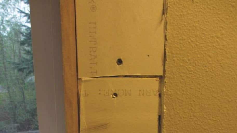 Thomsen says Exterior Restorations left gaps in his drywall, along with crooked, warped framing. (Photo courtesy of Carsten Thomsen)
