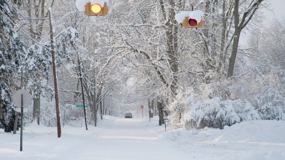 a snow filled street