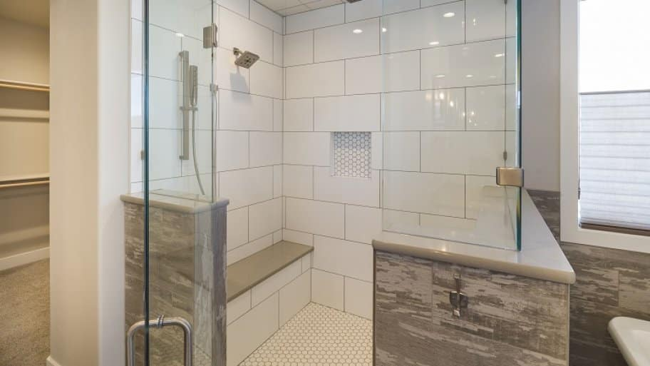 Steam shower with glass enclosure