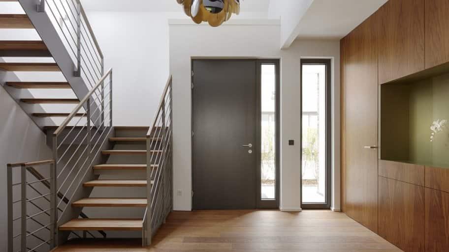 Steel door in modern house