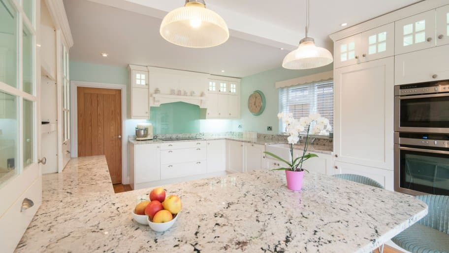 A stone countertop in a kitchen