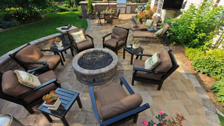 Overview of a stone patio