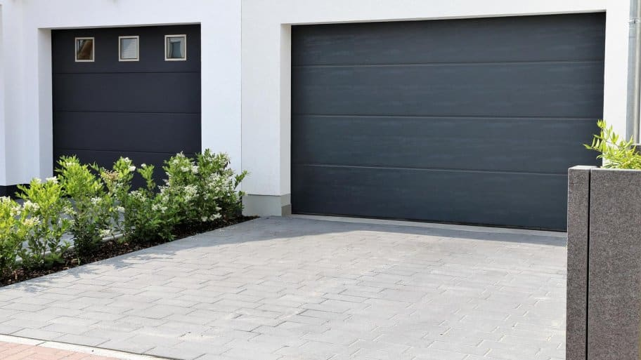 Two modern garage doors in a residential district
