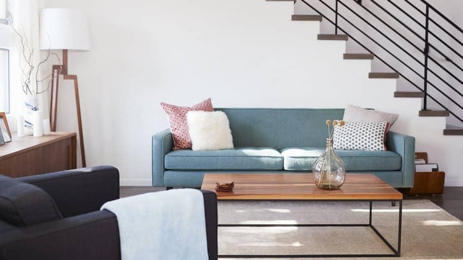 Upholstered furniture in living room