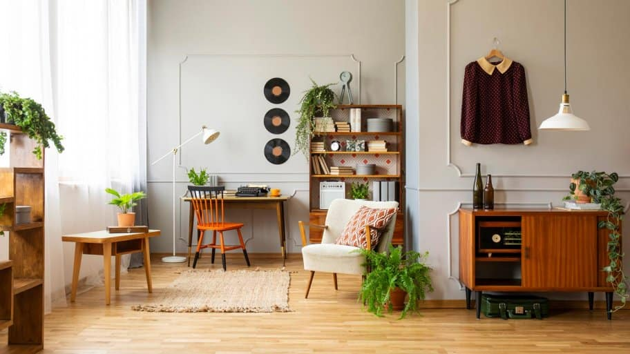 A vintage living room with wooden floor