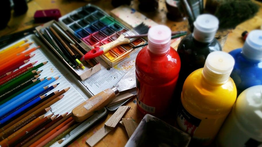 watercolors and paints