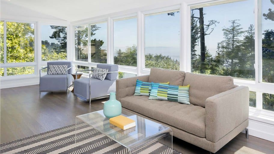 Sunroom with clean windows overlooking valley
