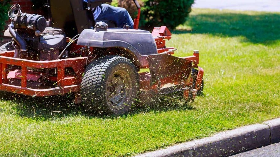 Mowing with zero turn lawn mower