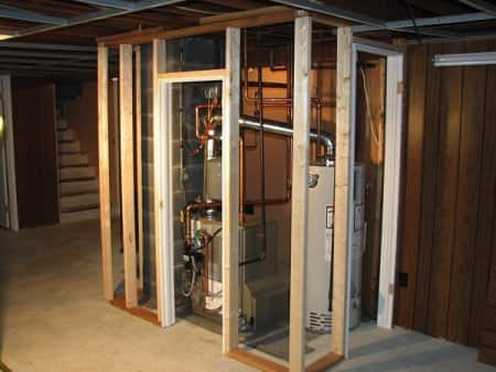 HVAC unit in basement of house