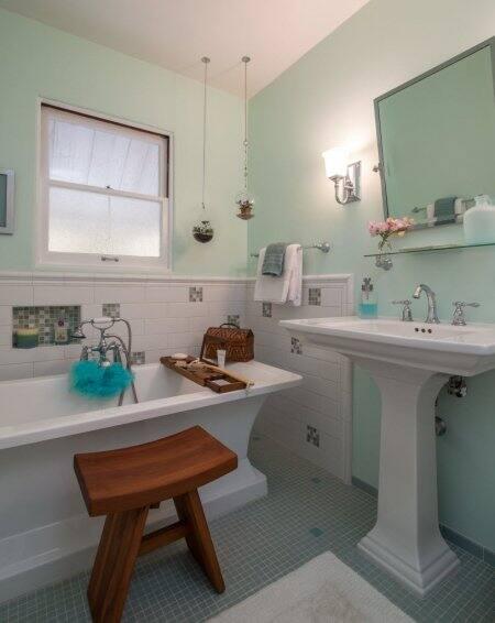 remodeled bathroom, wooden stool, bathtub