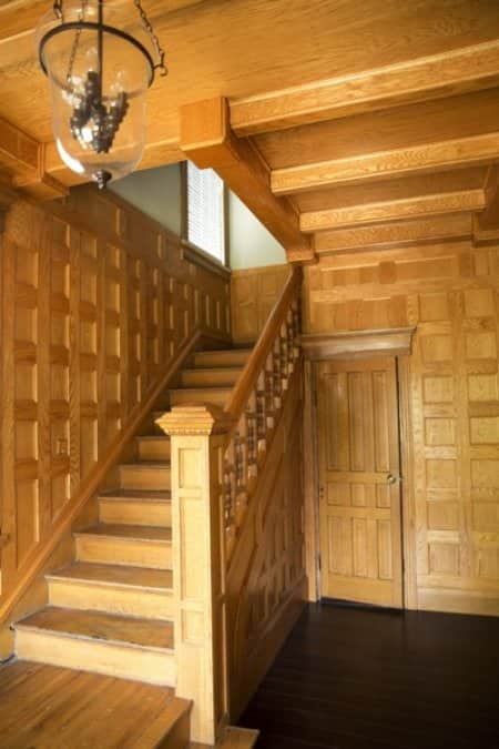 Tony Shockley and his crew painstakingly repaired or restored the home's historic feel, but retained the look of the front staircase. (Photo by Brandon Smith)