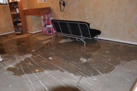 Flood caused by leak
