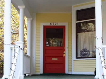 red front door with nice hardware and mailslot