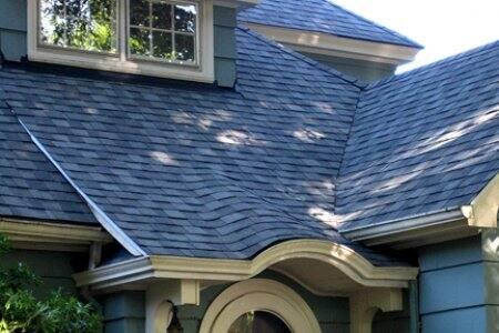 blue asphalt shingle roof